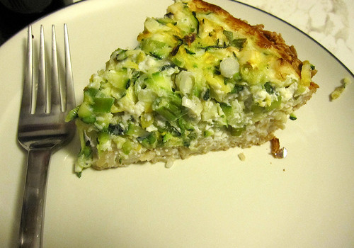 Quiche with a brown rice crust