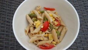 pasta salad with asparagus and corn