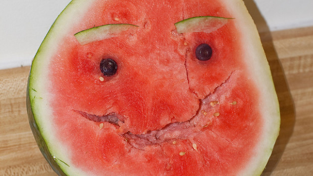 Smiling happy watermelon