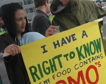 Right to Know GMO protest sign
