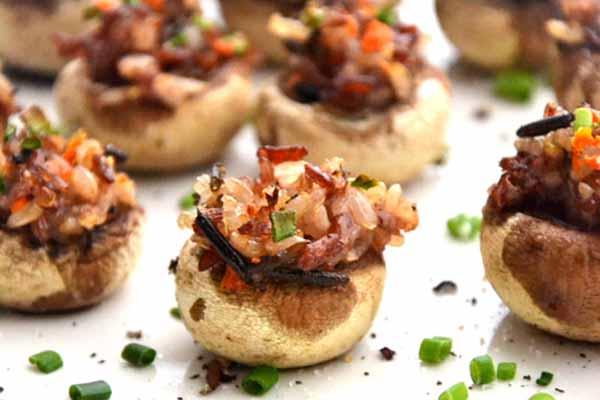 Plant-Based Holiday Menu: Gluten Free Vegan Pine Nut Stuffed Mushrooms