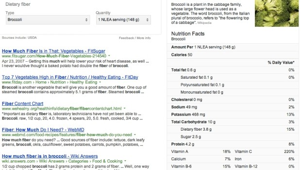 Google Voice Search for Nutritional Information
