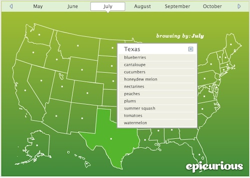 Epicurious Seasonal Ingredient Map