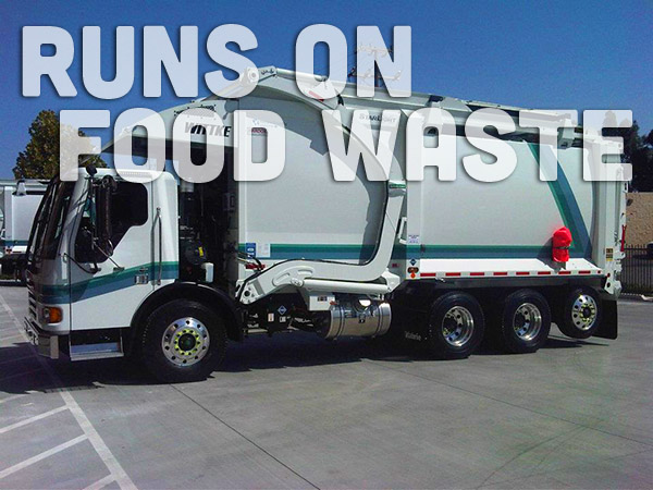 This truck runs on alternative fuel made from food waste.