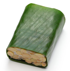fresh tempeh in banana leaf