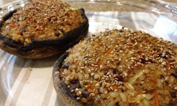 Fried Rice Stuffed Portobello Mushrooms
