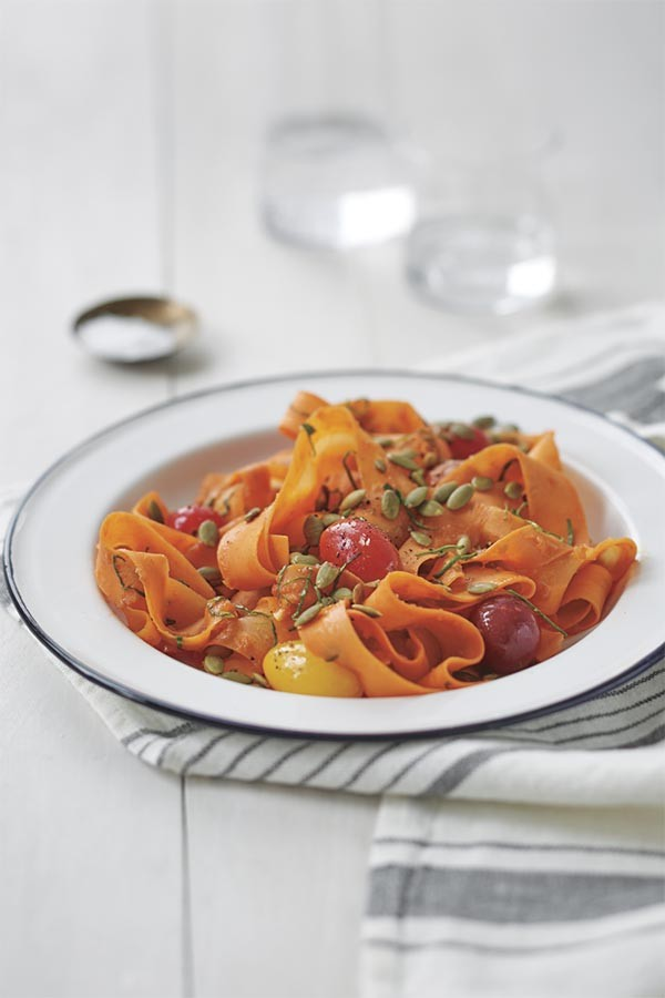 "In this dish, the ""fettuccine"" is actually made from carrots shredded into ribbons with a vegetable peeler. I think you'll be surprised at how much it tastes like the real thing."