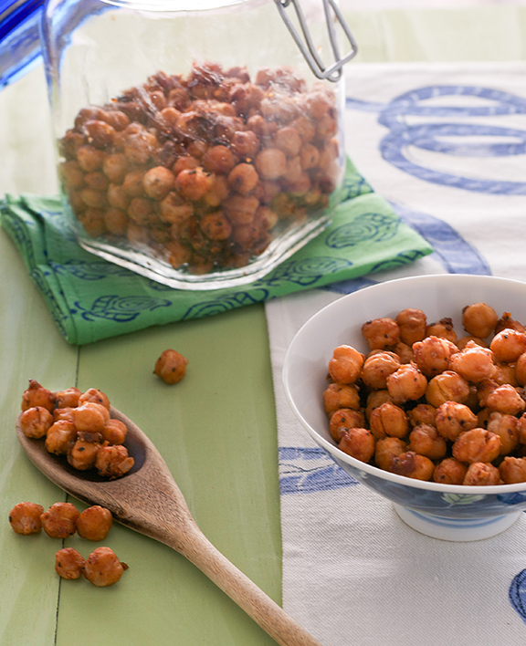 Crunchy BBQ Chickpeas make a great snack or salad topping!