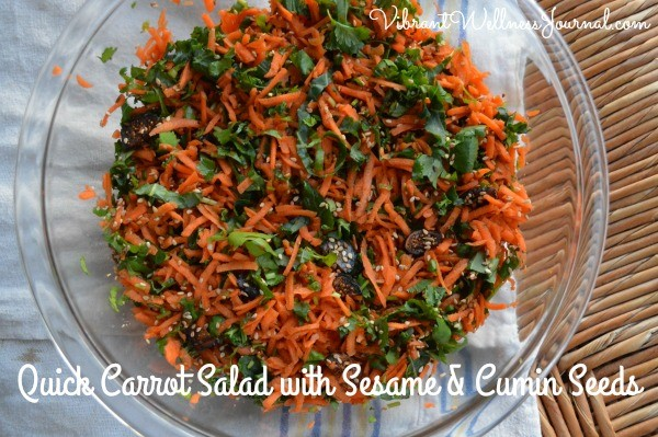 This super simple quick carrot salad will add variety to your salad rotation, and bring in some unlikely flavors.