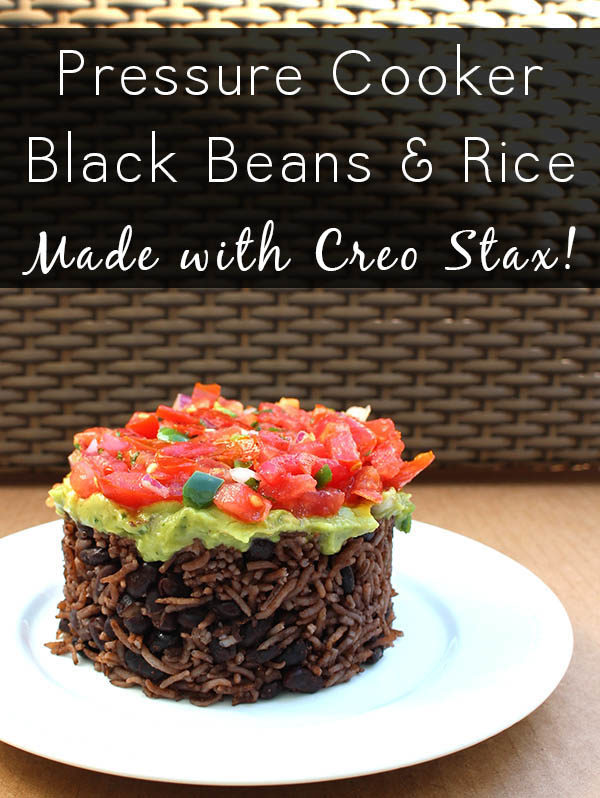 Pressure cooker black beans and rice makes such a simple weeknight meal. While you wait for the beans to pressure cook, fix yourself a margarita, and kick back! #ad