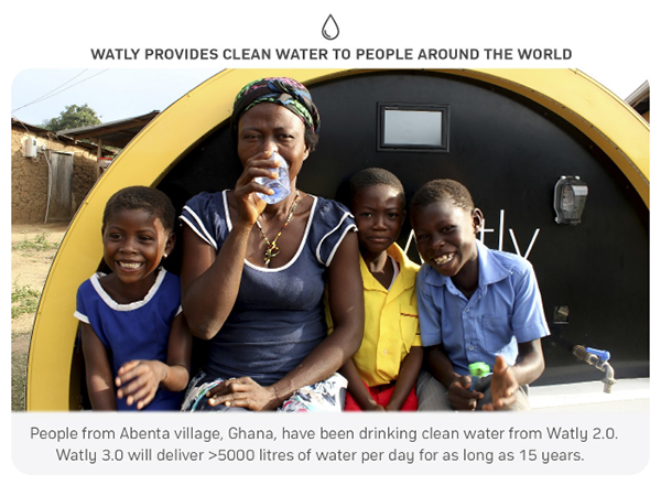 Watly is designed to solve three major infrastructure needs — access to clean water, electricity to run electronic devices and internet connectivity.