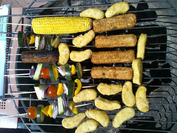 vegan food on the grill