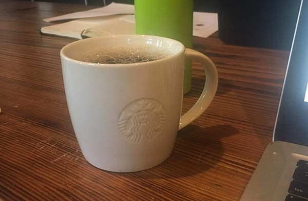 """They do exist: Starbucks """"for here"""" mugs (Photo: Robyn Purchia)"""