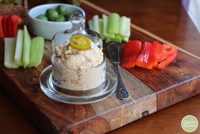 cashew cheese plate with veggies