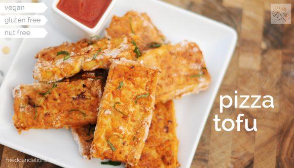 pizza tofu with marinara sauce